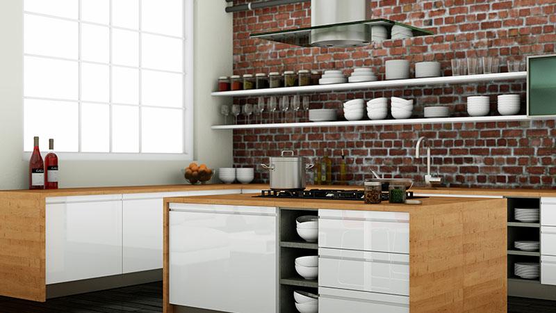 cuisine blanche marron